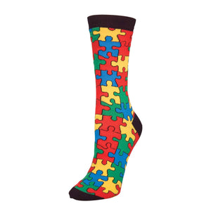 Puzzle Pieces Autism Awareness SockSmith Womens Crew Socks