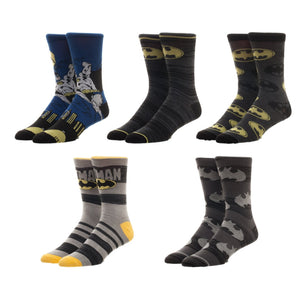 BioWorld Batman DC Comics 5 Pair Pack Casual Crew Socks