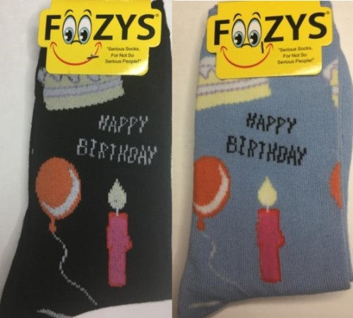 Happy Birthday ~ Foozys by Crazy Awesome Socks ~ Choice 1 or 2 Pairs