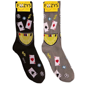 Blackjack ~ Casino ~ Poker ~ Dice Foozys Men's Crew Socks Foozy