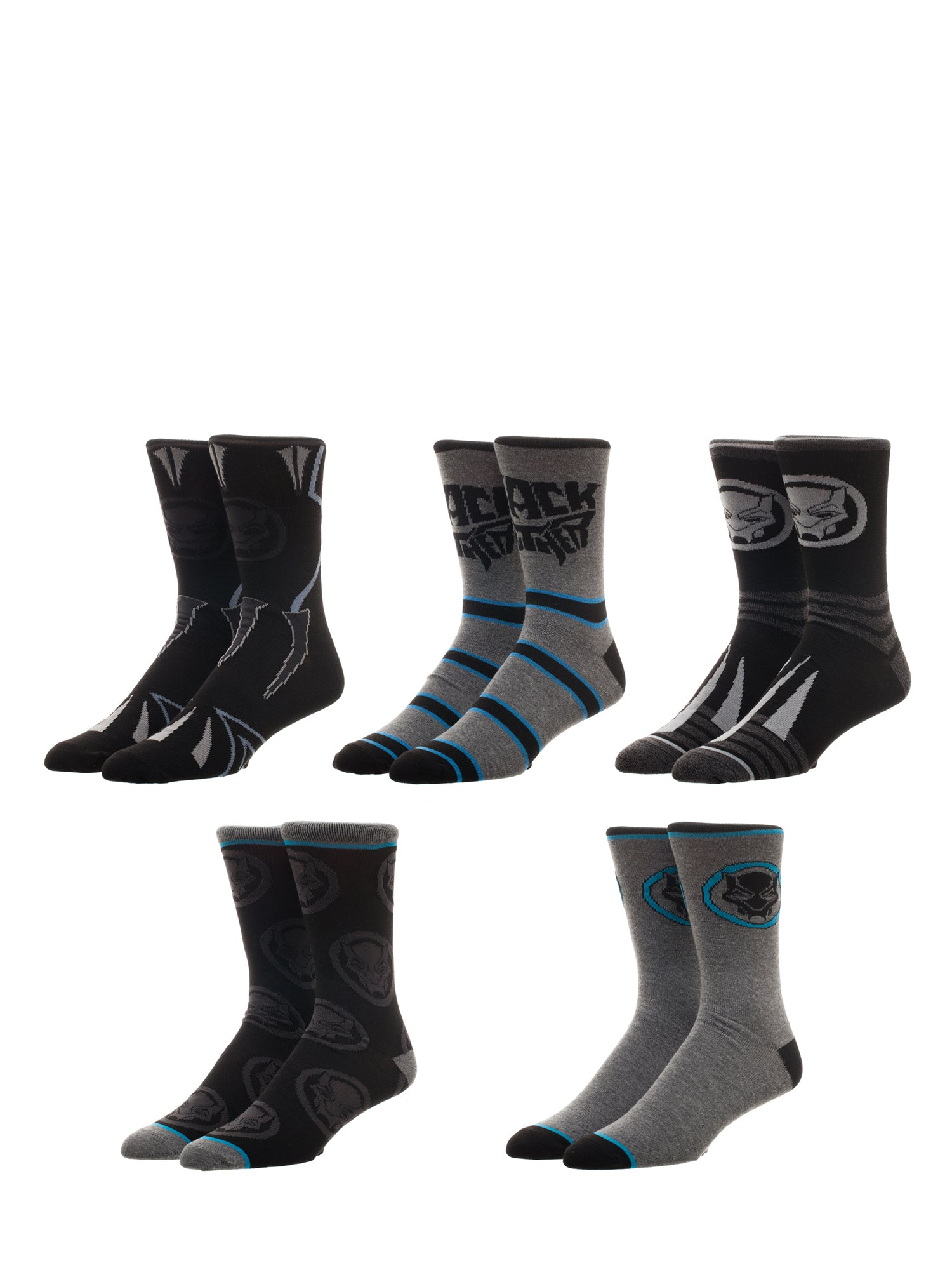 Marvel Black Panther 5 Pair Pack Casual Crew Socks