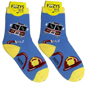 Firefighter Foozys Boys Kids Crew Socks