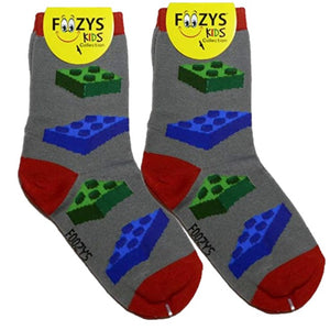 Lego Blocks Foozys Boys Kids Crew Socks