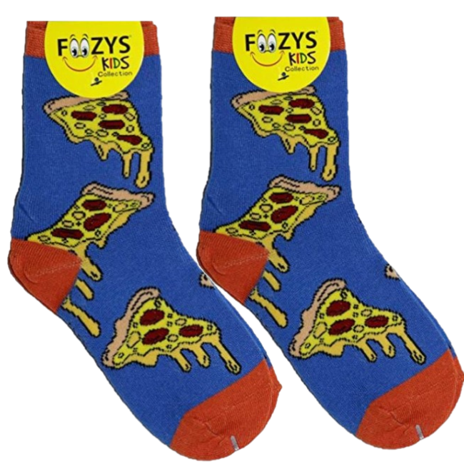 Pepperoni Pizza Slice Foozys Boys Kids Crew Socks