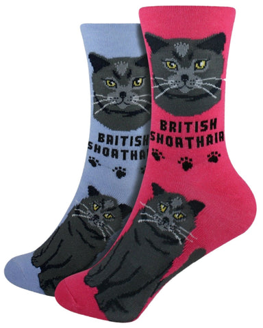 British Shorthair Foozys Feline Cat Crew Socks