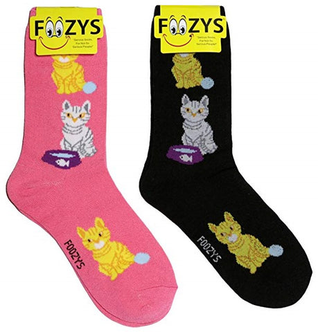 Cat & Yarn Ball Foozys Womens Crew Socks