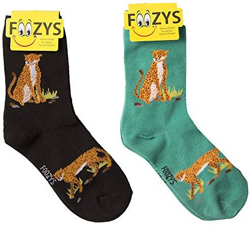 Cheetah Foozys Womens Crew Socks