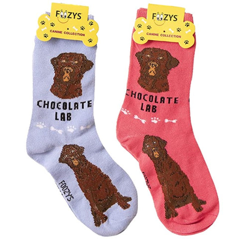 Chocolate Lab Foozys Canine Dog Crew Socks