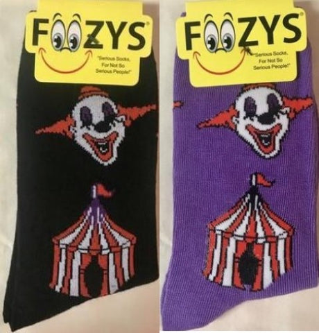 Scary Circus ~Clowns Elephants Big Top Tent ~ Foozys by Crazy Awesome Socks ~ Choice 1 or 2 Pairs