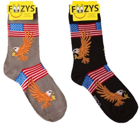Bald Eagle American Flag Patriotic USA Foozys Womens Crew Socks