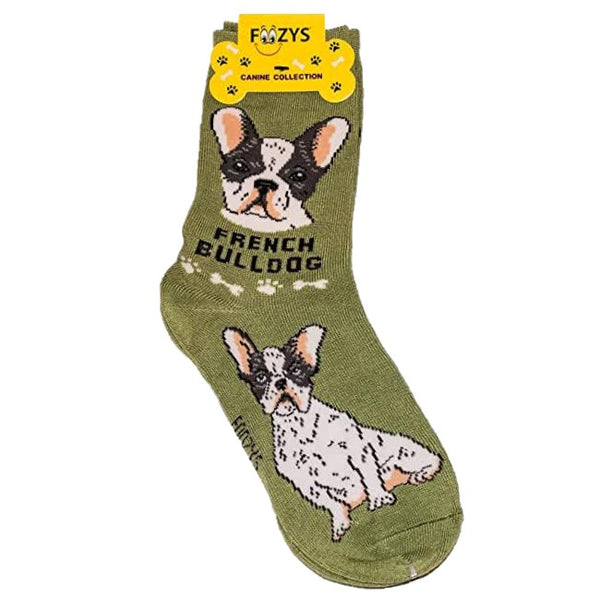 French Bulldog Foozys Canine Dog Crew Socks