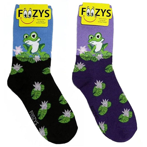 Frog on a Lilly Pad Foozys Womens Crew Socks
