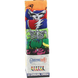 Grateful Dead Rock Band 6 pair pack Casual Mens Crew Socks
