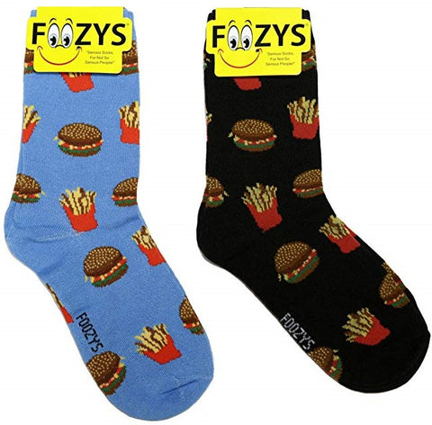 Hamburger & Fries Foozys Womens Crew Socks