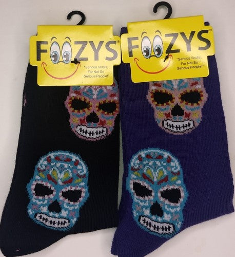 Day of the Dead Muerte Muerto Skulls Foozys Womens Crew Socks