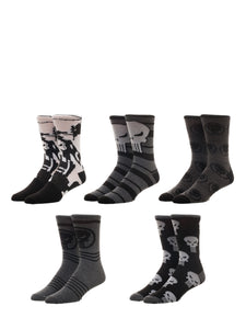 Bioworld Marvel Comics Punisher 5 Pair Pack Casual Crew Socks