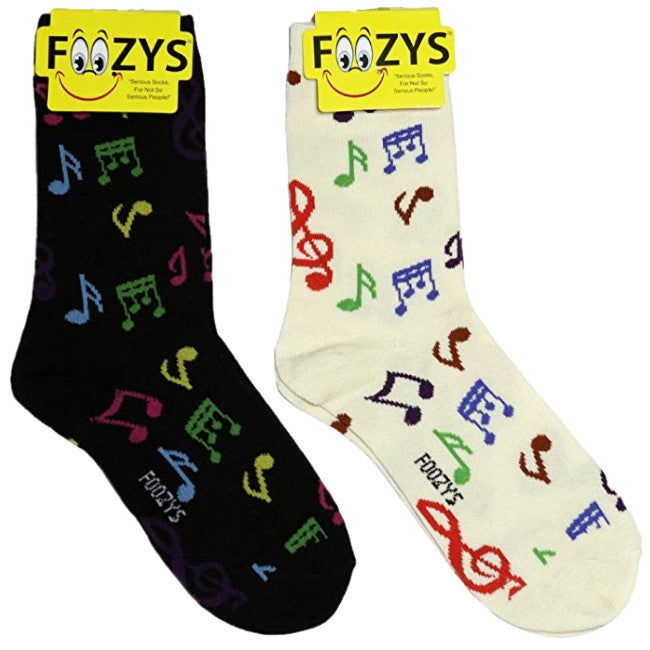 Music Notes Foozys Womens Crew Socks