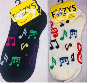 Musical Notes (No Show Socks) ~ Foozys by Crazy Awesome Socks ~ Choice 1 or 2 Pairs