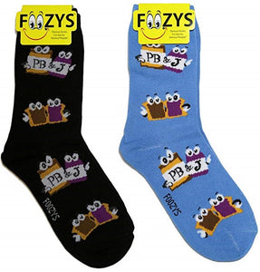 Peanut Butter & Jelly Foozys Womens Crew Socks