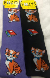 Professor Kitty Cat (Knee High) ~ Foozys by Crazy Awesome Socks ~ Choice 1 or 2 Pairs