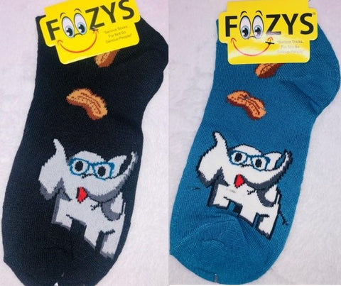 Professor Elephant (No Show) ~ Foozys by Crazy Awesome Socks ~ Choice 1 or 2 Pairs