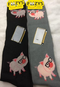 Professor Pig ~ Foozys by Crazy Awesome Socks ~ Choice 1 or 2 Pairs