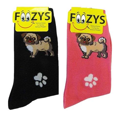 Pugs & Paw Prints Foozys Womens Crew Socks