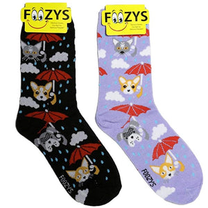 Raining Cats & Dogs Foozys Womens Crew Socks