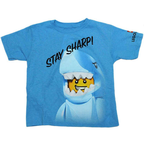 Blue Lego Man Stay Sharp Shark Legoman Boys T-Shirt