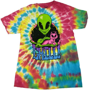 Chill Alien Cat Tie Dye Mens T-Shirt