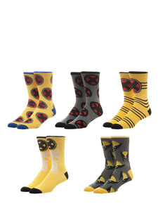 BioWorld Marvel Comics X-Men 5 Pair Pack Casual Crew Socks