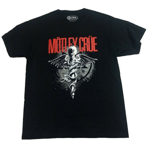Motley Crue Dagger Snake Dragon Wings Men's Rock Band T-Shirt