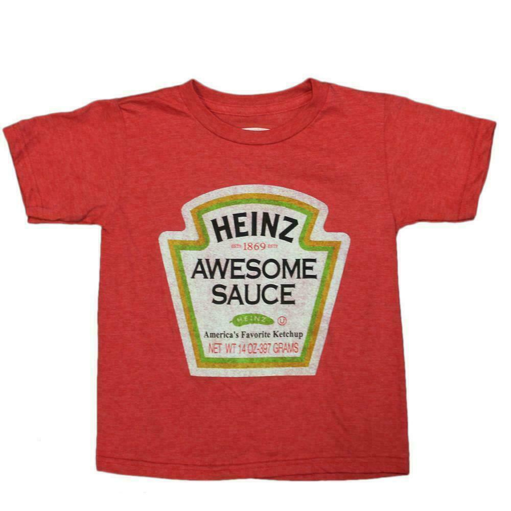Heinz Ketchup Awesome Sauce Boys Red Heather Faded Graphic Tee T Shirt