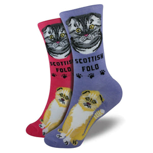 Scottish Fold Foozys Feline Cat Crew Socks