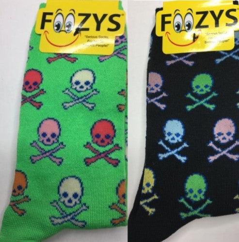 Colorful Skull & Crossbones ~ Foozys by Crazy Awesome Socks ~ Choice of 2 Colors
