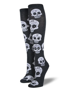 Big Muertos Sugar Skull Socksmith Womens Knee-high Socks
