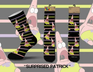 NICKELODEON SPONGEBOB PATRICK STAR SURPRISED MEN'S COOL SOCKS CREW
