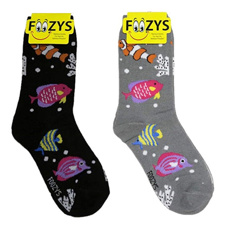 Tropical Fish Foozys Womens Crew Socks