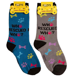 Who Rescued Who Foozys Canine Dog Crew Socks