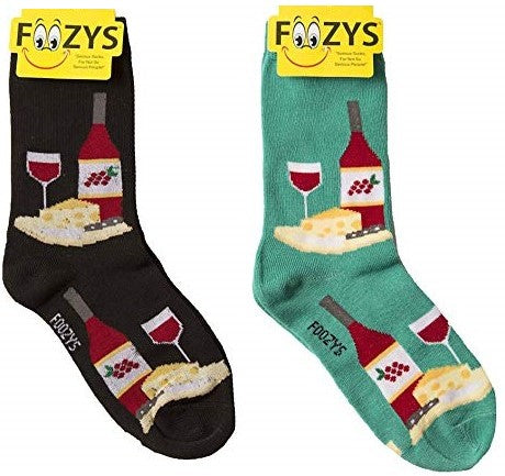Wine & Cheese Foozys Womens Crew Socks
