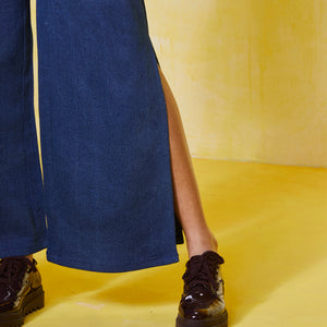 Denim Flared Slit Pants