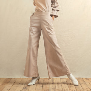 Beige Denim Back Slit Pants