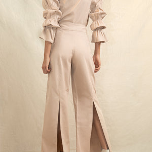 Ruffles Sleeves Top and Back Slit Pant Set
