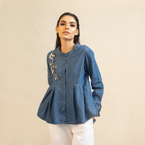 Snap Button Pleated Shirt