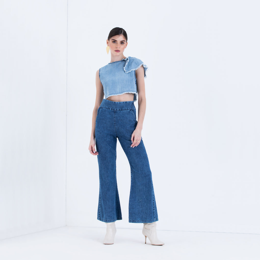 The Vineeta One shoulder ruffled Top & Wide Leg Denim Set