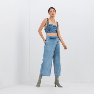The Annushka Metal Crop Top & Front Flap Pant Set