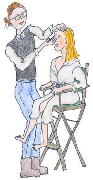 Illustration of Gucci doing a model's makeup