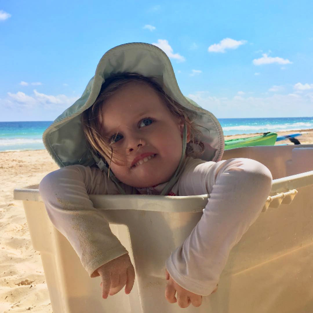 Gucci's daughter Petal sits in a basket on the beach
