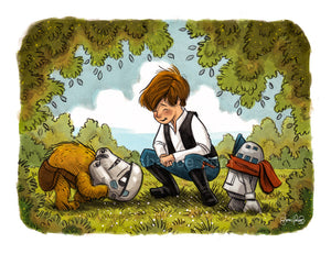 "Chew, Chrisolo & Droidlet (Wookiee the Chew - 11""x14"")"