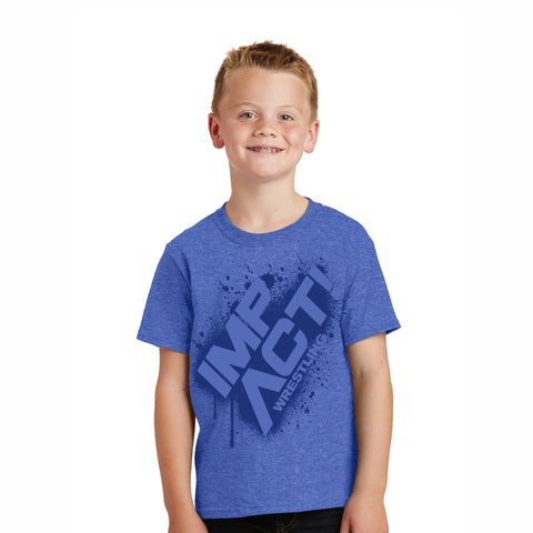 Impact Wrestling Splatter Youth Short Sleeve Fashion Tee - Royal
